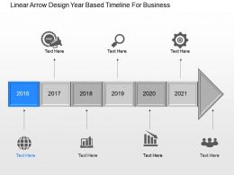 Rk Linear Arrow Design Year Based Timeline For Business Powerpoint Template