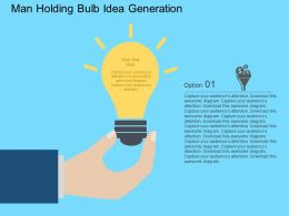 Rk Man Holding Bulb Idea Generation Flat Powerpoint Design