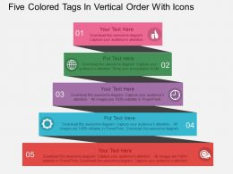 rl Five Colored Tags In Vertical Order With Icons Flat Powerpoint Design