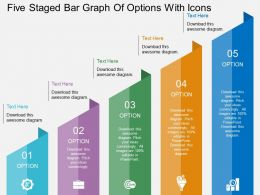 rl Five Staged Bar Graph Of Options With Icons Flat Powerpoint Design