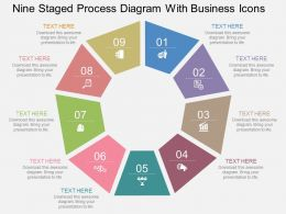 Rl Nine Staged Process Diagram With Business Icons Flat Powerpoint Design