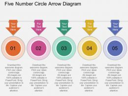 rm Five Number Circle Arrow Diagram Flat Powerpoint Design