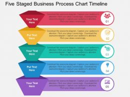 rn Five Staged Business Process Chart Timeline Flat Powerpoint Design