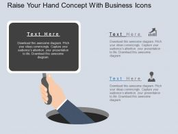 Rn Raise Your Hand Concept With Business Icons Flat Powerpoint Design
