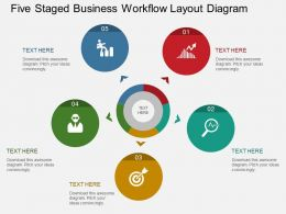 ro Five Staged Business Workflow Layout Diagram Flat Powerpoint Design