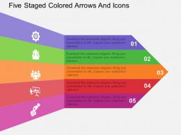 ro Five Staged Colored Arrows And Icons Flat Powerpoint Design