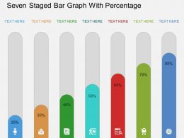 Ro Seven Staged Bar Graph With Percentage Flat Powerpoint Design