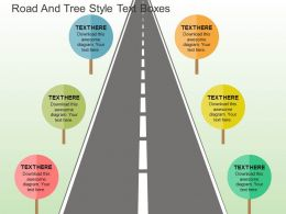 Road And Tree Style Text Boxes Flat Powerpoint Design