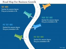 Road Map For Business Growth Flat Powerpoint Design