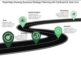 Road Map Showing Business Strategic Planning With Dartboard And Gear Icon