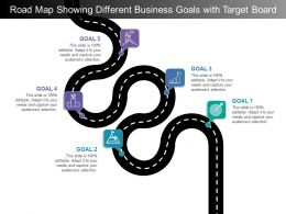 Road Map Showing Different Business Goals With Target Board