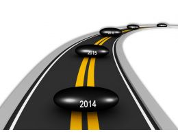 Road Map Timeline With Year Based Concept Stock Photo