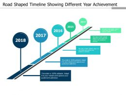 Road Shaped Timeline Showing Different Year Achievement