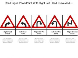 Road Signs Powerpoint With Right Left Hand Curve And Right Reverse Bend
