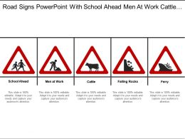 Road Signs Powerpoint With School Ahead Men At Work Cattle Falling Rocks And Ferry Signs Boards