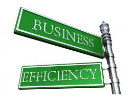 Road Signs Showing Concept Of Business Efficiency Stock Photo
