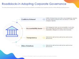 Roadblocks In Adopting Corporate Governance Ppt Powerpoint Presentation Files
