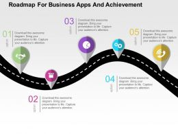Roadmap For Business Apps And Achievement Flat Powerpoint Design