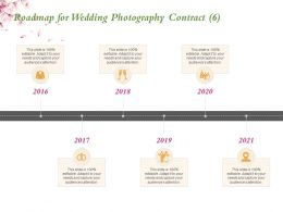 Roadmap For Wedding Photography Contract 2016 To 2021 Years Ppt Powerpoint Presentation Themes