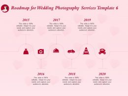 Roadmap For Wedding Photography Services Template 2015 To 2020 Ppt Outline Graphics