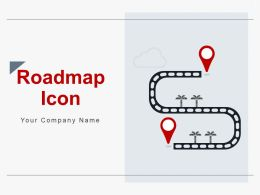 Roadmap Icon Strategic Goal Different Milestones Time Clock Interactive Options