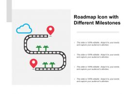 Roadmap Icon With Different Milestones
