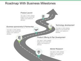Roadmap With Business Milestones Powerpoint Slide Download