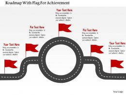 Roadmap With Flag For Achievement Flat Powerpoint Design