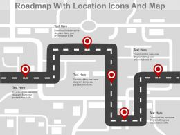 Roadmap With Location Icons And Map Powerpoint Slides