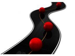 Roadmap With Red Balls Over For Time Line Of Business Stock Photo