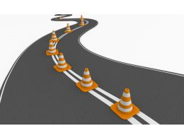 Roadmap With Traffic Cones Stock Photo