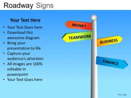 Roadway Signs Powerpoint Presentation Slides DB
