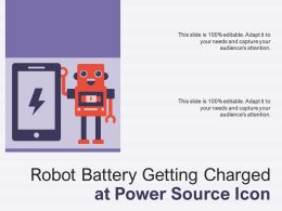 Robot Battery Getting Charged At Power Source Icon