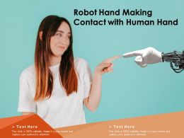 Robot Hand Making Contact With Human Hand