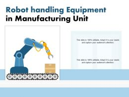 Robot Handling Equipment In Manufacturing Unit