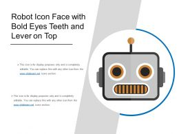 Robot Icon Face With Bold Eyes Teeth And Lever On Top