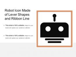Robot Icon Made Of Lever Shapes And Ribbon Line