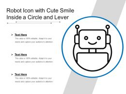 Robot Icon With Cute Smile Inside A Circle And Lever