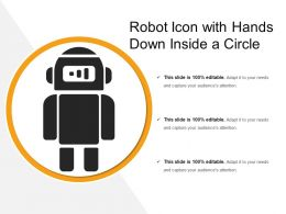 Robot Icon With Hands Down Inside A Circle