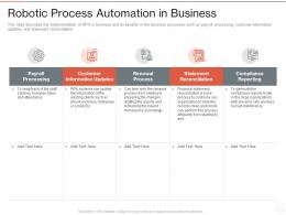 Robotic Process Automation In Business Ppt Powerpoint Presentation Styles Graphics Design