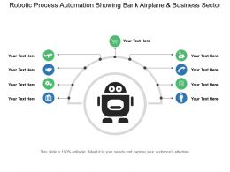 Robotic Process Automation Showing Bank Airplane And Business Sector