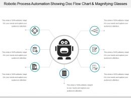 Robotic Process Automation Showing Doc Flow Chart And Magnifying Glasses