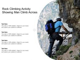 Rock Climbing Activity Showing Man Climb Across