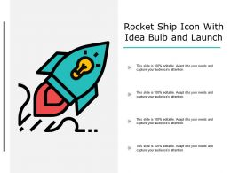 Rocket Ship Icon With Idea Bulb And Launch