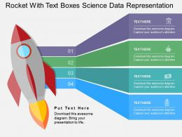 Rocket With Text Boxes Science Data Representation Flat Powerpoint Design