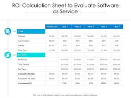 ROI Calculation Sheet To Evaluate Software As Service