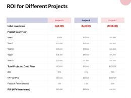 Roi For Different Projects Cash Flow Ppt Powerpoint Presentation Gallery Guide