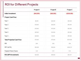 ROI For Different Projects Initial Investment E55 Ppt Powerpoint Presentation Show Grid
