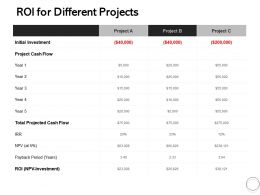 ROI For Different Projects Ppt Powerpoint Presentation Slides Examples