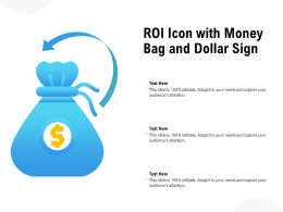 ROI Icon With Money Bag And Dollar Sign